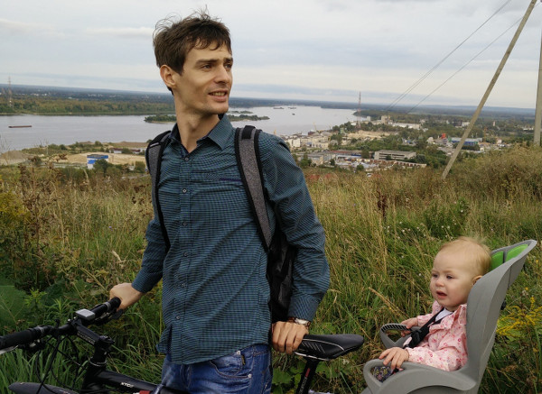 Photo with bicycle and baby